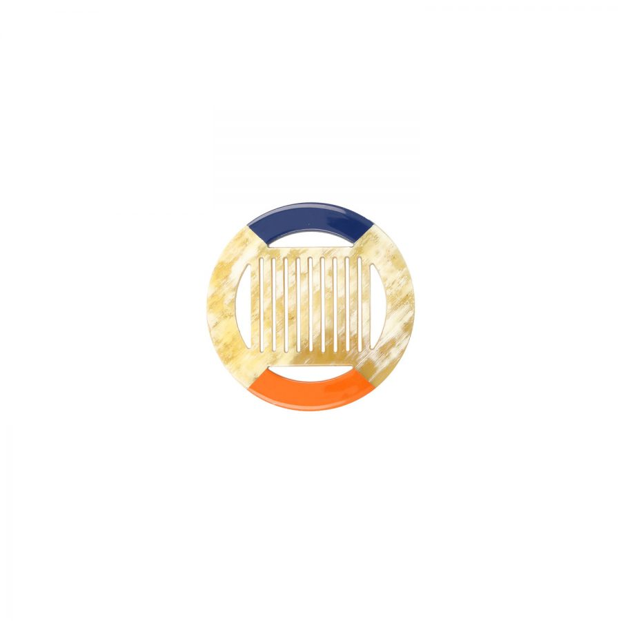 Horn mit orange/blauem Lack